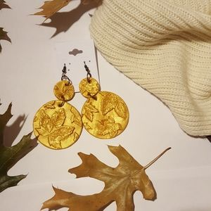 Gold Polymer Clay Sweet Maple Dangle Hoop Earrings